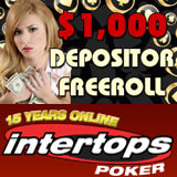Intertops Poker reload bonus and free roll tournament